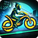 摩托车比赛霓虹城的骑手