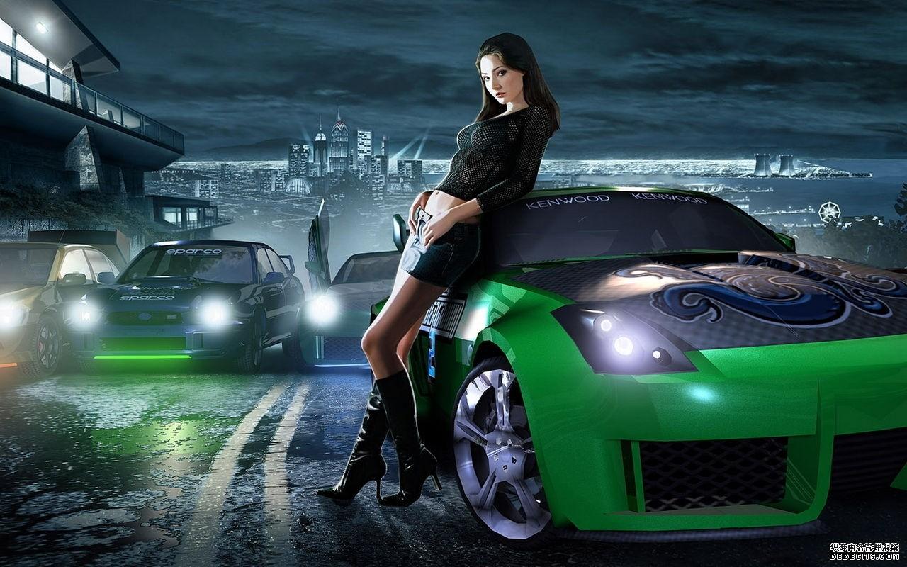 汽车游戏壁纸精选 美女与汽车宽屏桌面壁纸