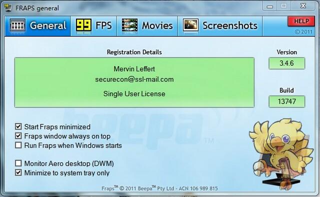 《Fraps》v3.5.9零售注册版-FOSI版(知名游戏截图+录像+FPS工具)